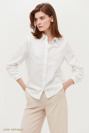 Белая классическая блузка свободного кроя 1153047334
