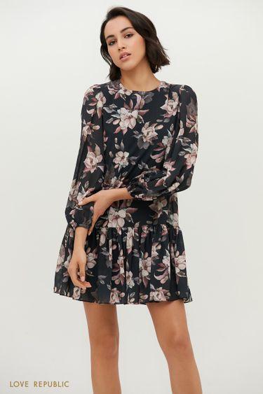 Чёрное платье-мини с рукавами буфами и цветочным принтом 1153049553
