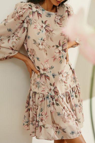 Платье-мини А-силуэта с цветочным принтом 1153059553