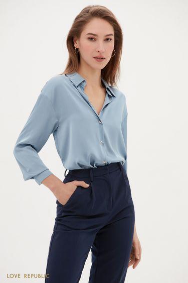 Эффектная атласная рубашка свободного кроя 1153060336