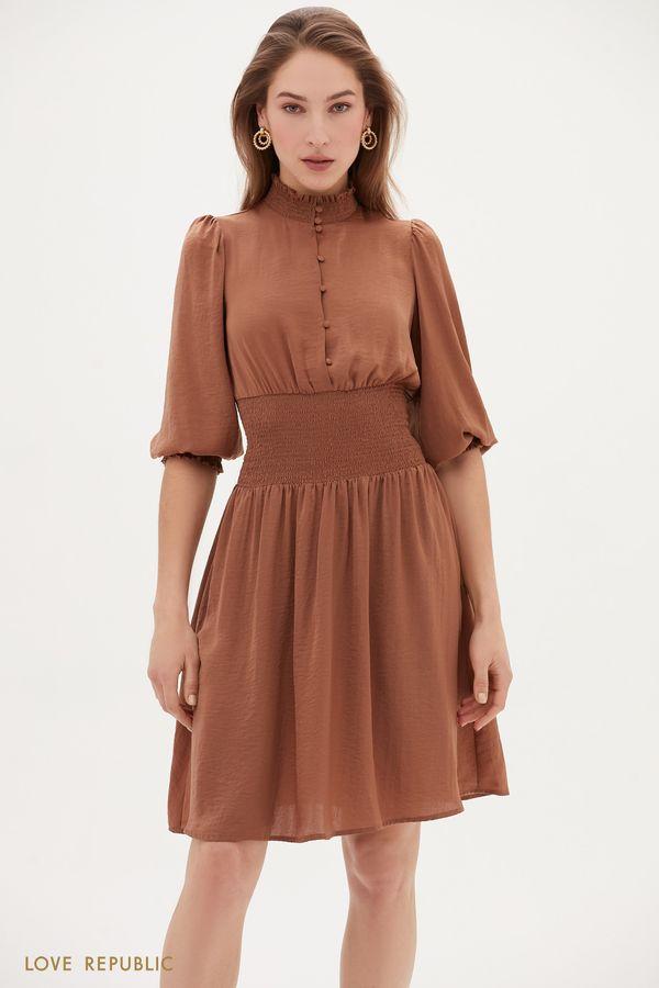 Струящееся платье с широкой резинкой 1153003503-66