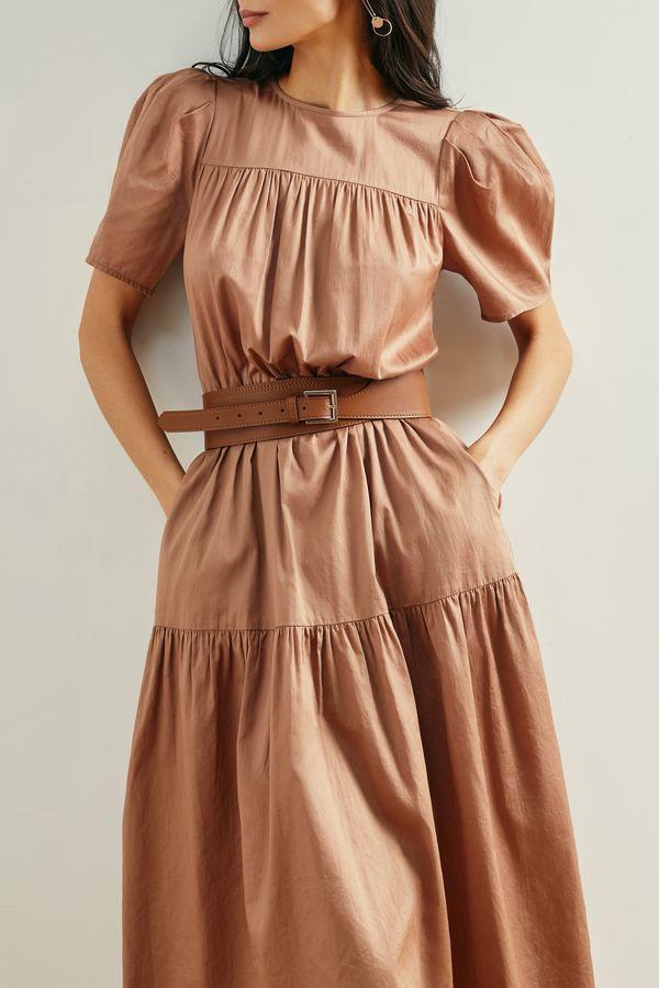 Приталенное платье миди с коротким рукавом 1153039551-50