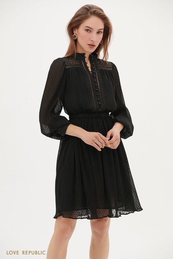 Платье из полупрозрачной ткани в горошек 1153051554-66