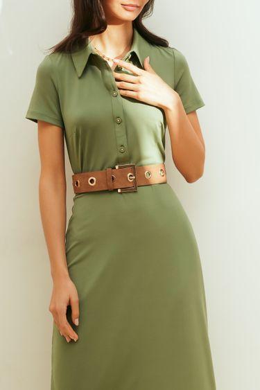 Платье-миди с воротником и поясом на талии 1153110574
