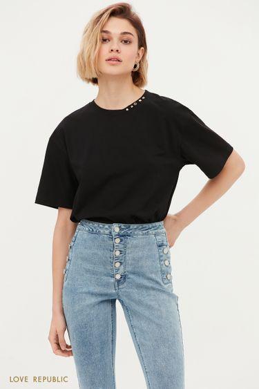 Oversize футболка с декором 1153111337