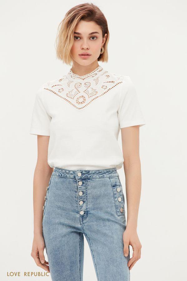 Блузка с кружевом и коротким рукавом 1153105319-1