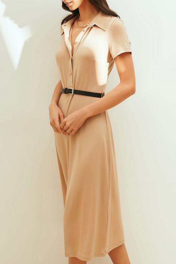 Платье миди с воротником и поясом на талии 1153110574-50