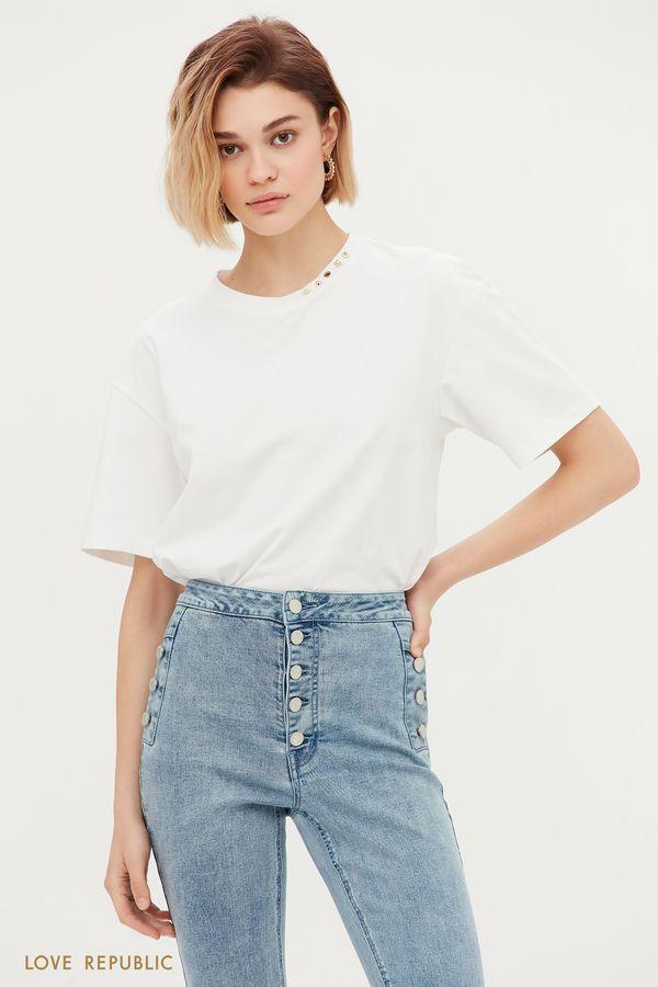 Oversize футболка с декором 1153111337-1