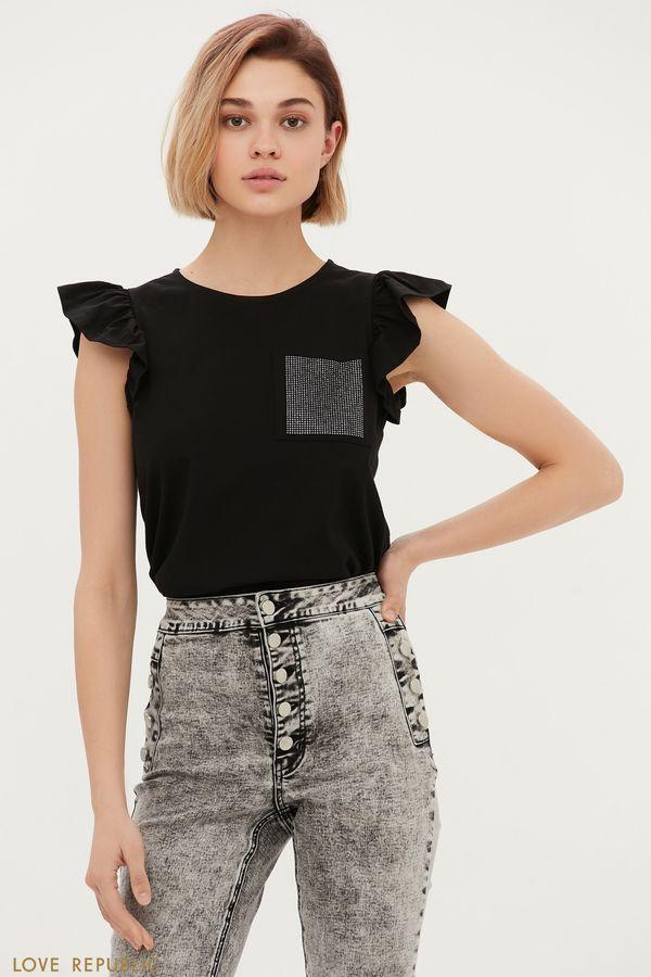 Хлопковая блузка с оборками и декором 1153112338-60