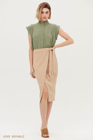 Элегантная юбка-миди на запах
