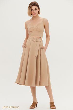 Однотонная юбка-солнце с поясом