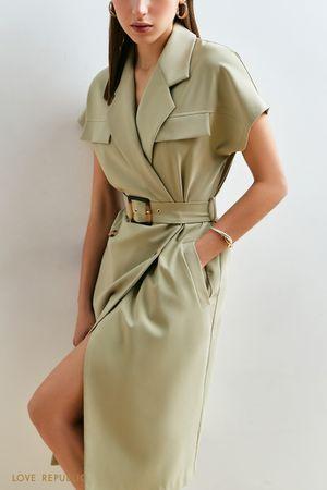 Платье-миди с широким запахом