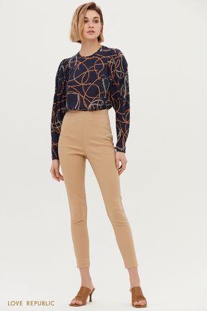 Кремовые скинни-брюки с завышенной талией
