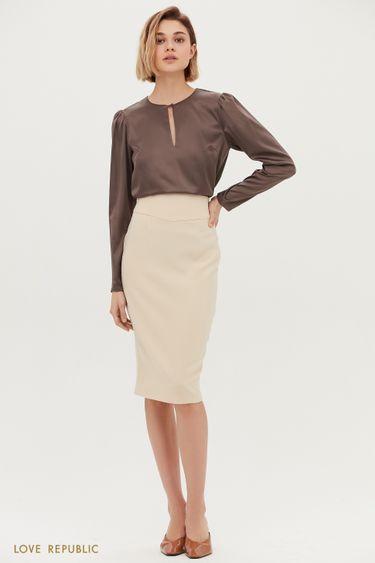 Молочная юбка-карандаш с фигурной кокеткой 1153206216