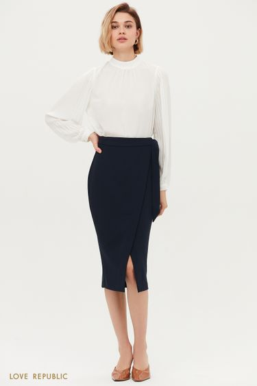 Элегантная юбка миди на запах 1153207219