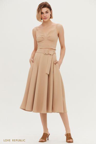 Однотонная юбка-солнце с поясом 1153207221