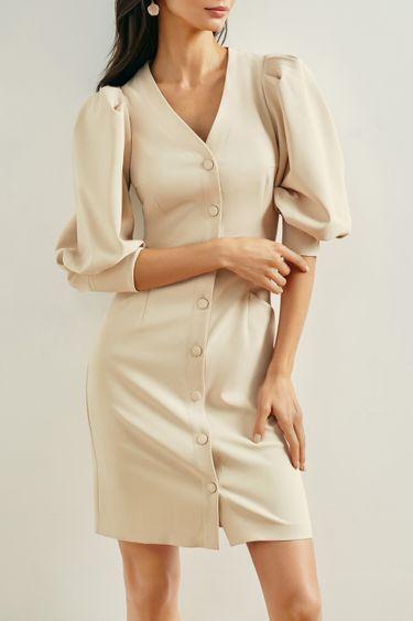 Стильное платье мини с объемными рукавами 1153222532