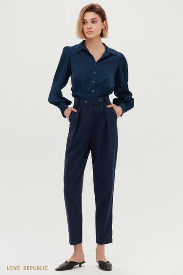 Синие брюки с высокой посадкой и защипами на талии 1153222726