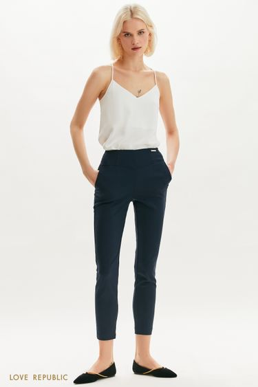 Синие укороченные брюки с фигурной кокеткой 1153231741