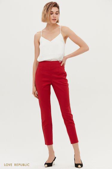 Красные укороченные брюки с фигурной кокеткой 1153231741