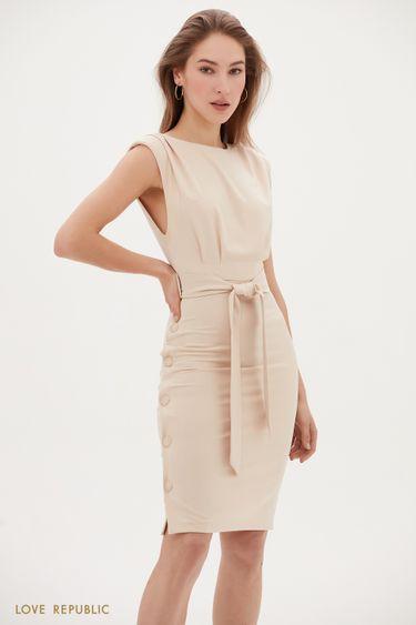Приталенное платье миди с декором 1153236536