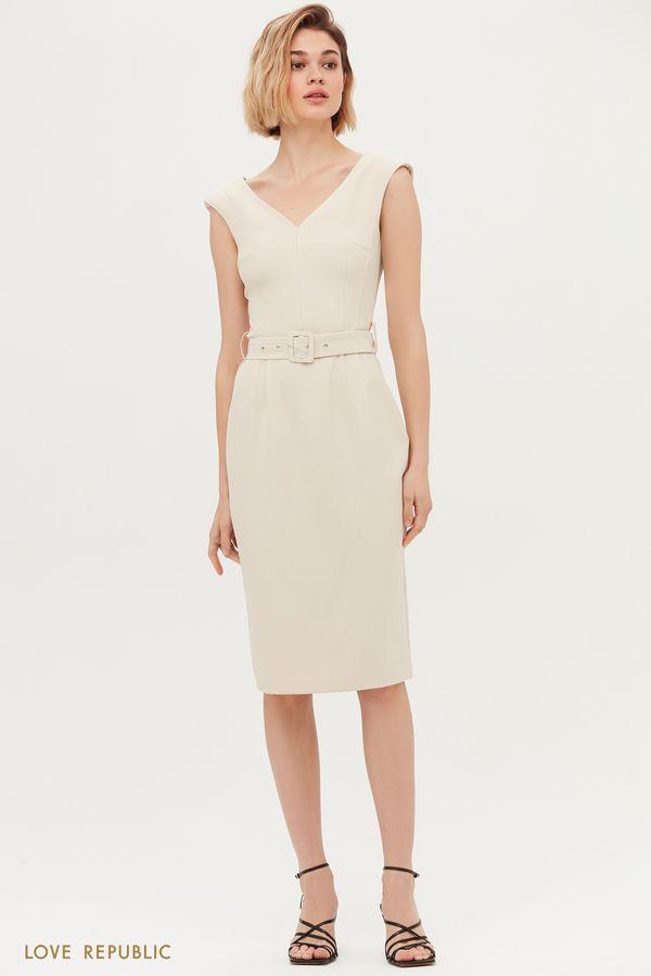 Платье миди с фигурным вырезом 1153207565-50