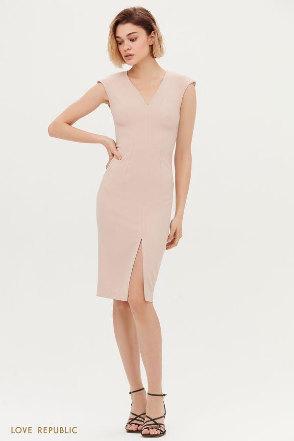 Платье-футляр с V-образным вырезом 1153207568-92
