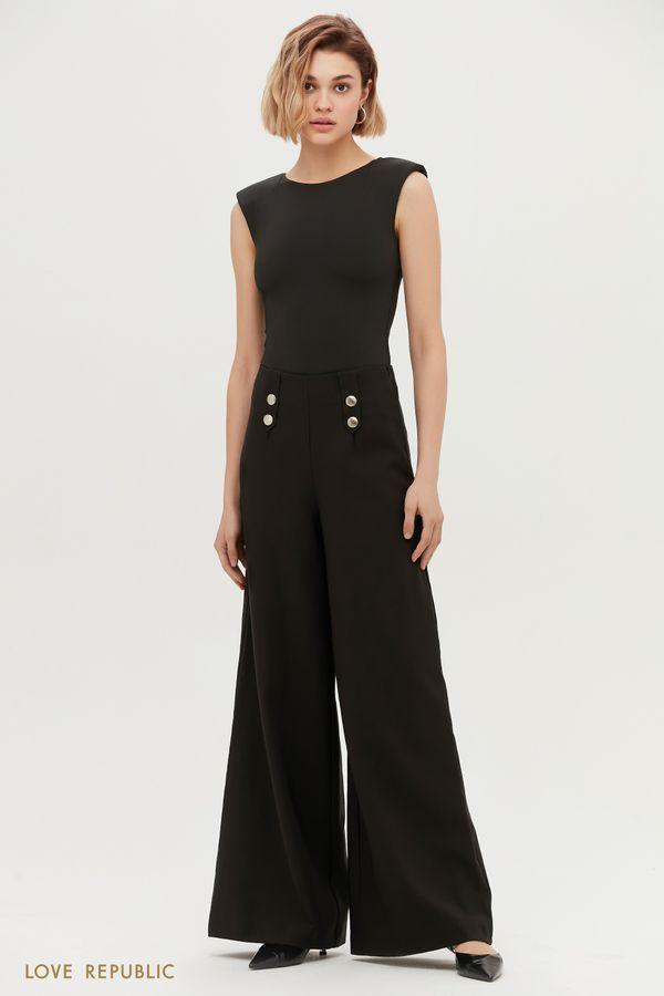 Черные брюки-палаццо с декоративными элементами 1153213710-50