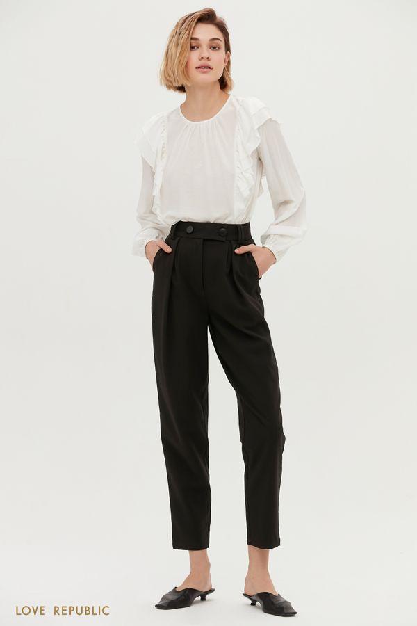 Бежевые брюки с высокой посадкой и защипами на талии 1153222726-62