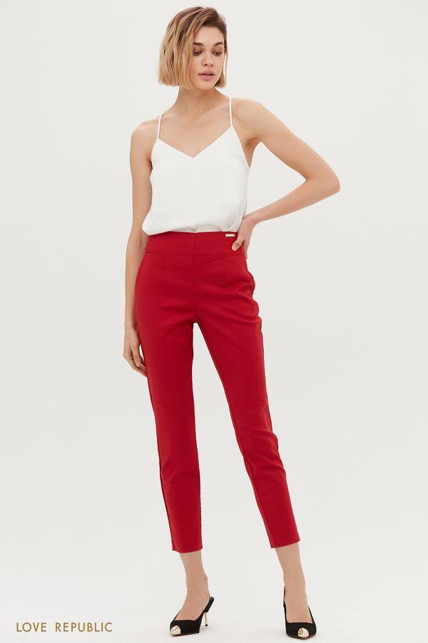 Красные укороченные брюки с фигурной кокеткой 1153231741-70