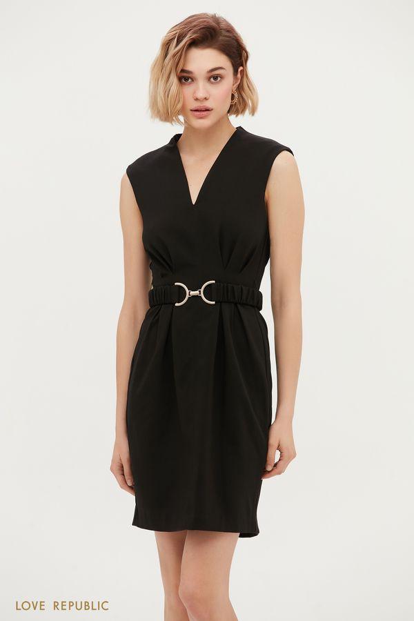 Приталенное платье без рукавов 1153234561-61