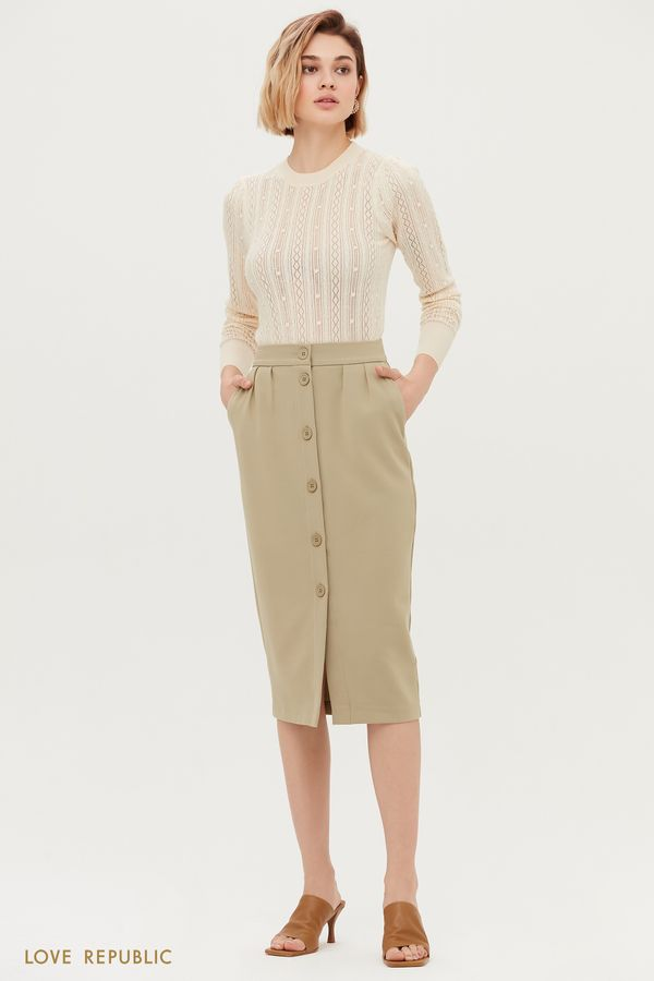Классическая юбка-карандаш на пуговицах 1153251220-61