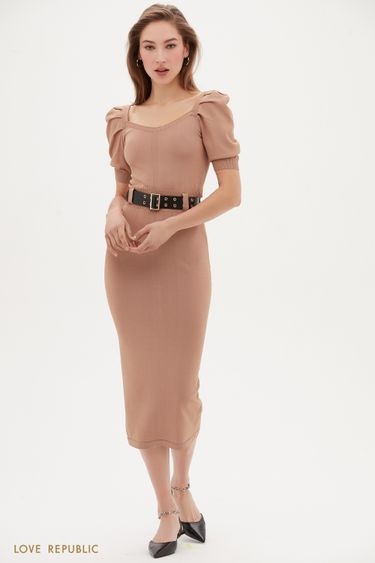 Трикотажное платье-миди бежевого цвета с коротким рукавом 1153302533