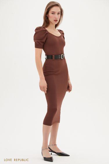 Трикотажное платье-миди цвета капучино с коротким рукавом 1153302533