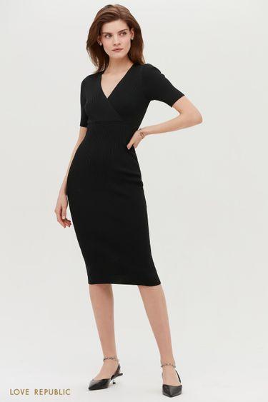 Трикотажное платье-миди с коротким рукавом 1153303534