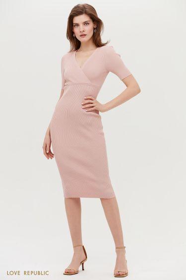 Трикотажное платье миди с коротким рукавом 1153303534