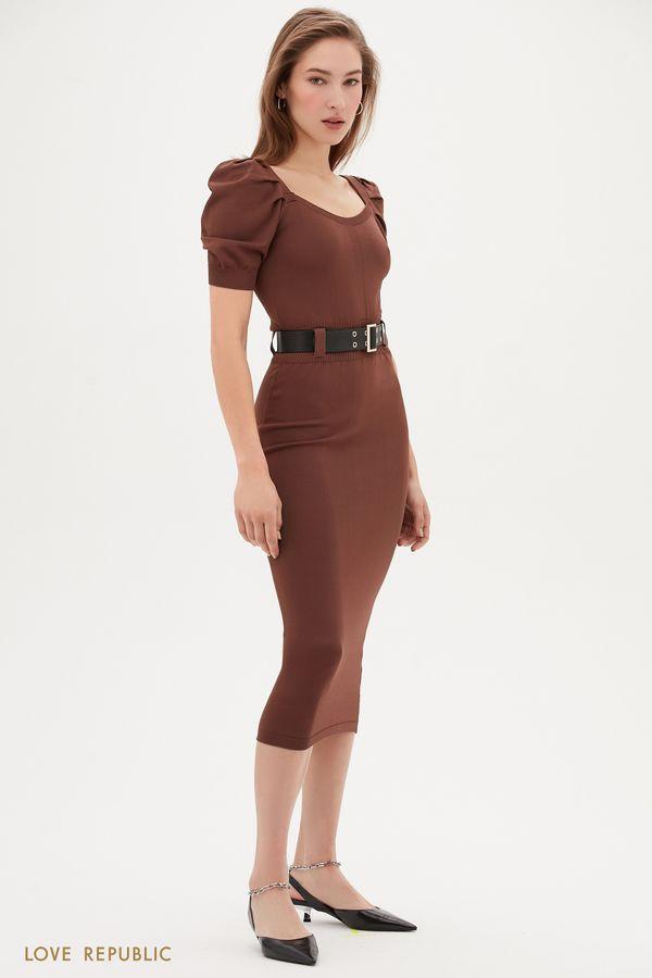 Трикотажное платье миди цвета капучино с коротким рукавом 1153302533-66