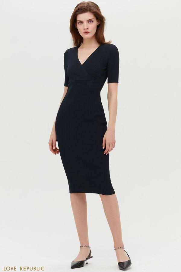 Трикотажное платье миди с коротким рукавом 1153303534-61