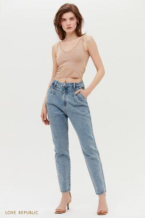 Голубые джинсы MOM с высокой посадкой
