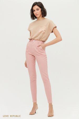 Розовые джинсы-скинни с высокой талией