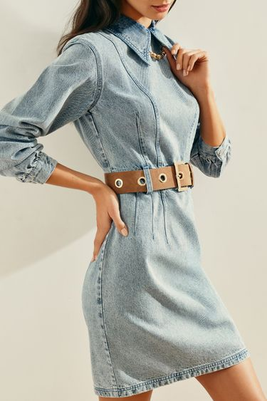 Джинсовое платье-мини с отложным воротником 1153423528