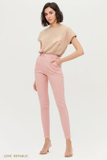 Розовые джинсы-скинни с высокой талией 1153429732
