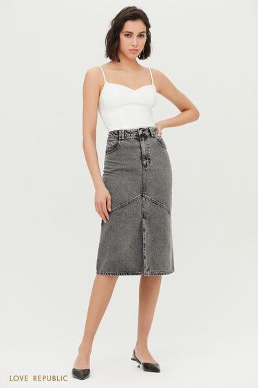 Прямая джинсовая юбка миди 1153437210