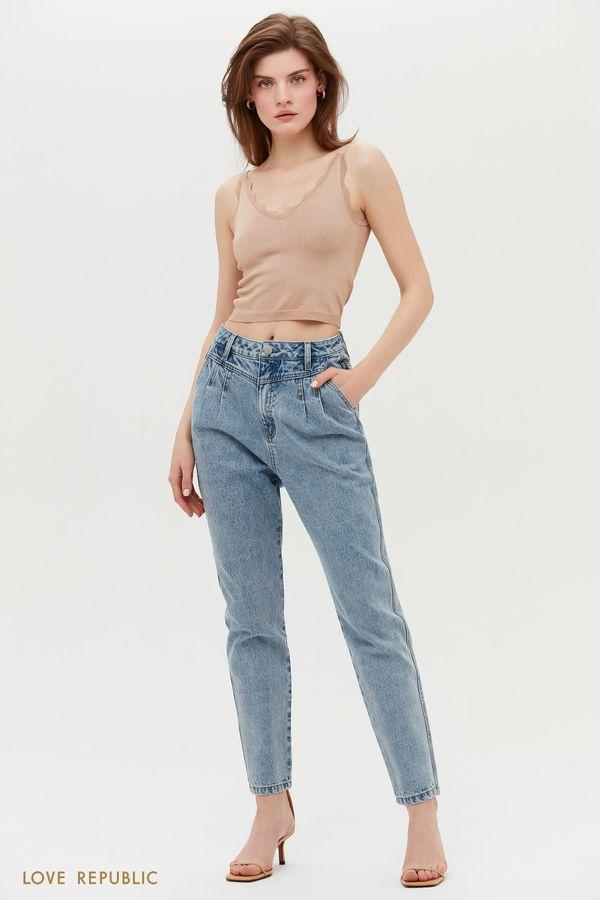 Голубые джинсы MOM с высокой посадкой 1153402702-101