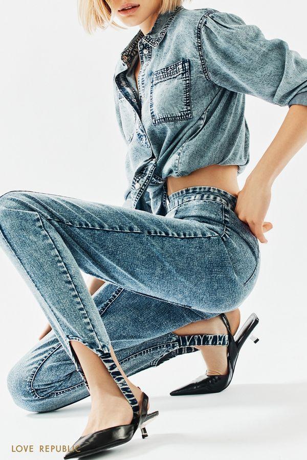 Голубые джинсы со штрипками 1153416719-102