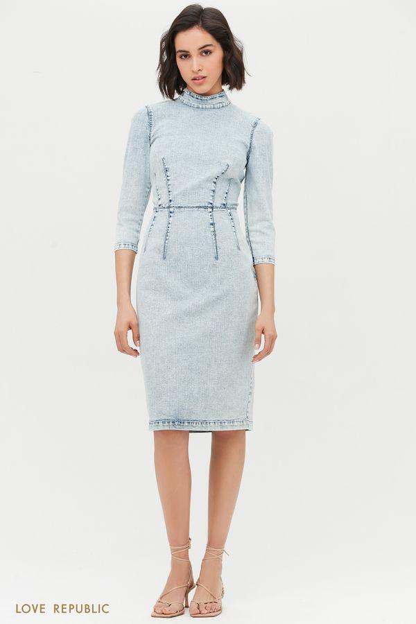 Платье-миди из голубого денима 1153426537-101