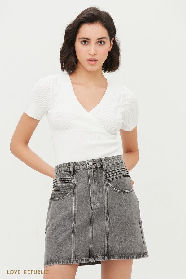 Джинсовая мини-юбка светло-серого цвета 1153428208-107