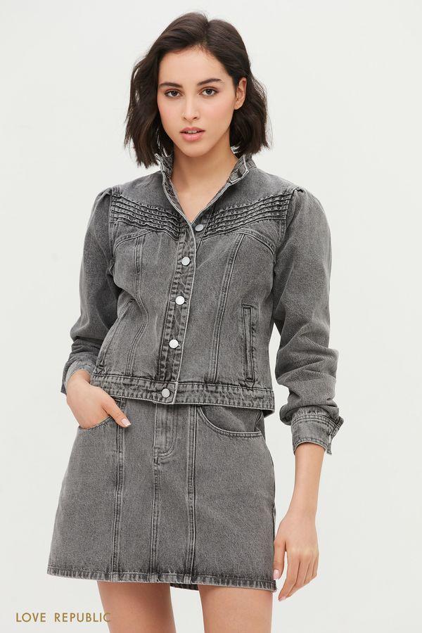 Джинсовая куртка с комбинированным кроем 1153428616-107