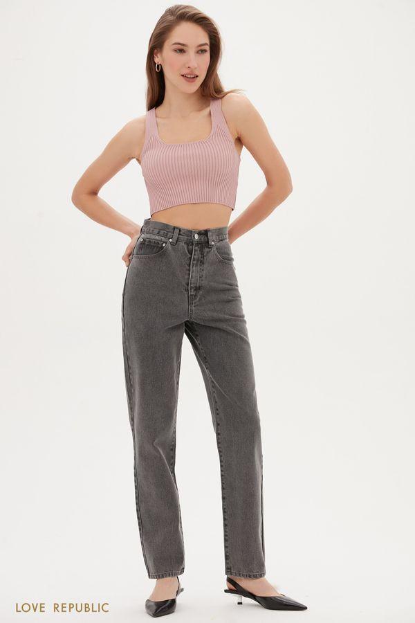 Светло-серые прямые джинсы с завышенной талией 1153431734-107