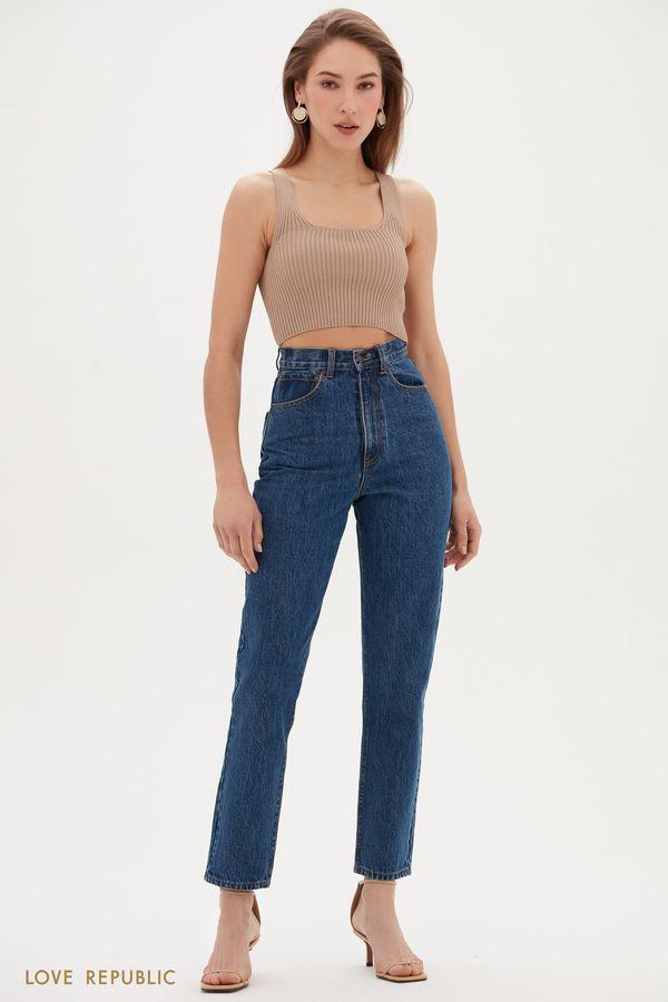 Базовые джинсы mom в оттенке индиго 1153432735-103